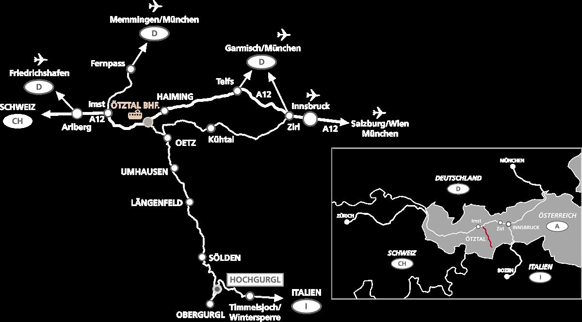 Getting Here: Hochgurgl · Ötztal Valley · Tyrol · Austria - by road-rail-air
